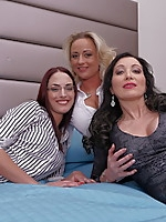 Three old and young lesbians make out and have fun